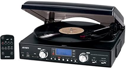 JENSEN JTA-460 Digital 3-Speed Stereo Turntable with MP3 Encoding & AM/FM Receiver