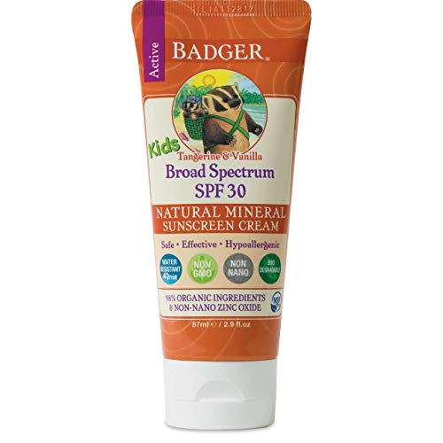 Badger – SPF 30 Kids Sunscreen Cream with Zinc Oxide for Face and Body, Broad Spectrum & Water Resistant Reef Safe…