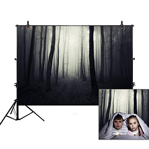 Allenjoy 7x5ft Photography Backdrop Background Halloween Woods Horror Scary Night Ghost Dark Path Trough Forest Foggy Trees Props Photo Studio Booth]()
