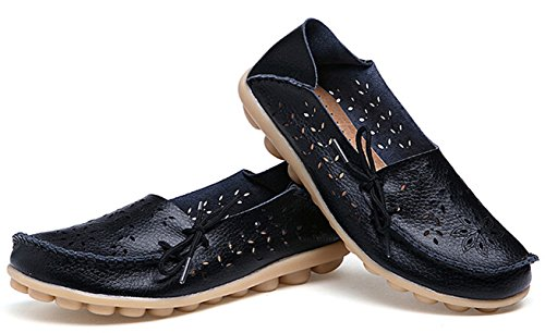 Bumud Womens Driving Shoes Pelle Mocassino Con Lacci In Pelle Nero