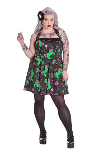 Hell Bunny Plus Size Gothic Black I Heart Zombie Unicorn Skull Mini Dress (Tagged 3X) (Gothic Unicorn)