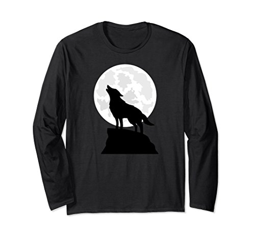 Unisex Lone Wolf Full Moon Howling Silhouette Art T-Shirt 2XL Black