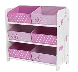 Worlds Apart Mueble organizador con 6 cestas, diseño de mariposas y flores [Importado de Reino Unido]