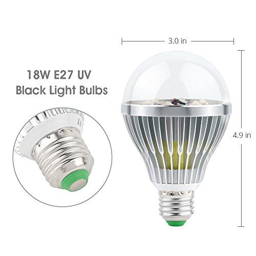 LaluceNatz 18W Black Lights Bulbs with 6 UV LED Bulb UV Spotlight E27 by LaluceNatz (Image #2)