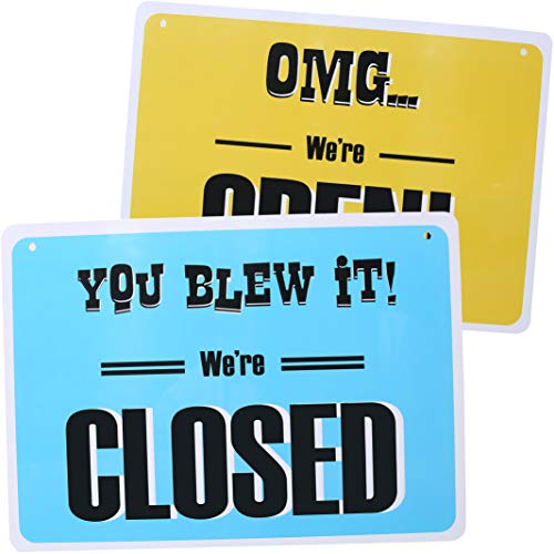 Open Sign for Business (Double Sided) - Fun Open for Business Sign - Funny Open Closed Sign for Business - Lightweight, Washable PVC Open Sign (8.25