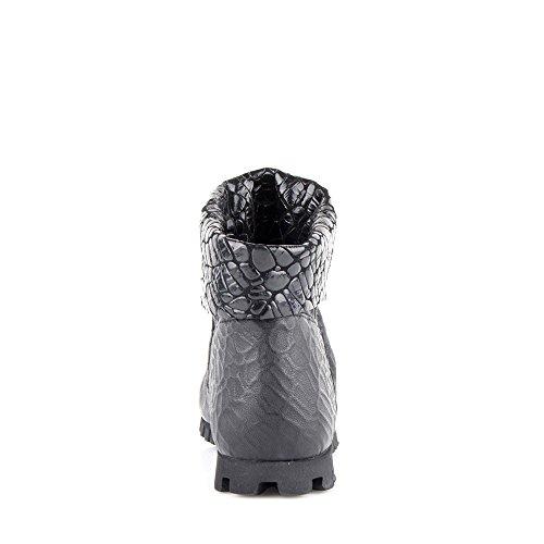 Felmini - Zapatos para Mujer - Enamorarse con Cain 9173 - Botines Cowboy & Biker - Genuine Cuero - Negro - 0 EU Size