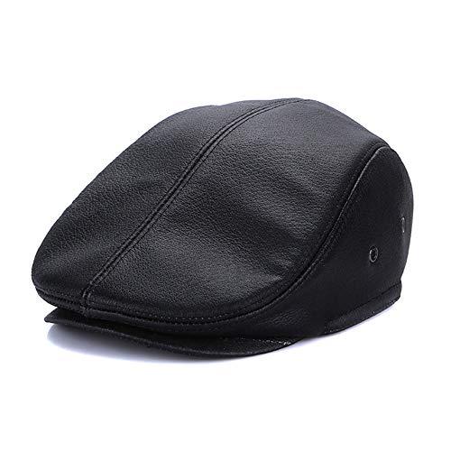 W.Z.H.H.H Gorra Hombres Gruesos inviernos c/álidos Ancianos Cl/ásicas Gorras Piel Plana de Cuero de Vaca con Orejeras Ajustables Sombrero de Moda Color : Brown, Size : XL