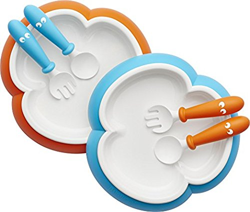 BABYBJORN Baby Plate, Spoon and Fork - Orange/Turquoise, 2-pack