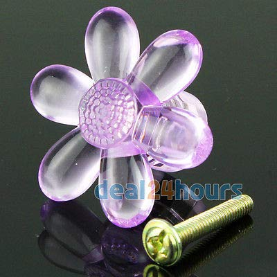 FidgetFidget Flower Shaped Acrylic Knobs Cabinet Drawer Pull Handle w/Screw 10pcs 39mm Lilac