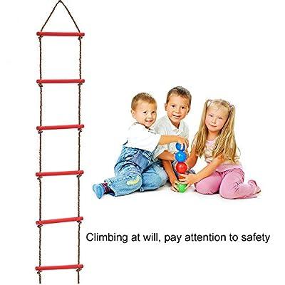 ADSRO Kids Climbing Rope Ladder, Playground Climbing Wooden Rope Ladder Tree Ladder Toy for Boys Children Aged 6-12 Years Old Indoor/Outdoor: Home & Kitchen