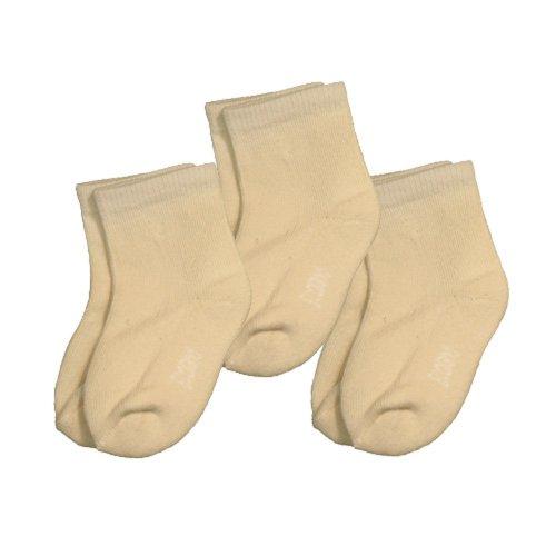Ecoland Unisex-Baby Infant Organic Cotton Newborn Quarter Socks 0-6 months - 3 Pairs Value (Natural)