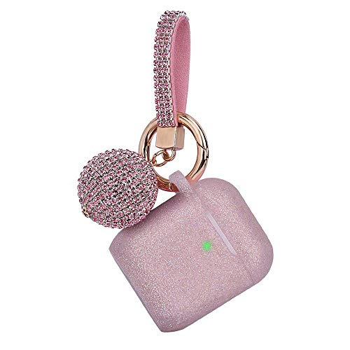 Airpod Case, Filoto Airpods Silicone Case Cover Skin, Air Pods Protective Glitter Case with Shiny Ball Keychain, Scratch Proof and Drop Proof for Apple Airpods 2&1 (Glittery Rose Gold) (Ipod 5 Case Jewels)