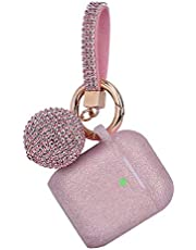 Airpod Case, Filoto Airpods Silicone Case Cover Skin, Air Pods Protective Glitter Case with Shiny Ball Keychain, Scratch Proof and Drop Proof for Apple Airpods 2&1 (Glittery Rose Gold)