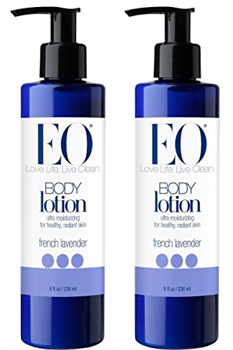 EO French Lavender Body Lotion (Pack of 2) with Jojoba Seed Oil, Lavender Oil, Aloe Vera, Matricaria Flower Extract, Calendula Flower Extract and Mango Seed Butter, 8 - Herbal Body Eo Lotion