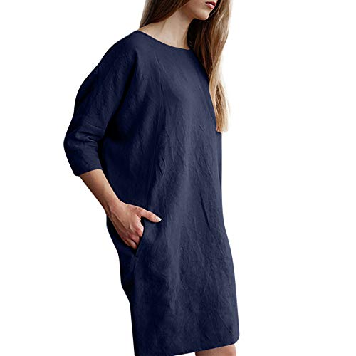 Sttech1 Women's Solid Color Half Sleeve Cotton Linen Loose Pockets Tunic Dress Navy