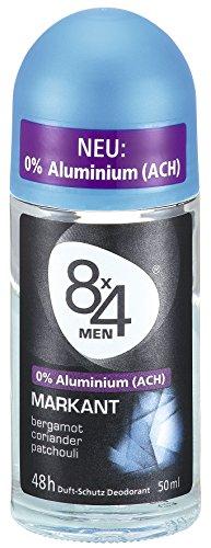 8x4 Men Deo Roll-On Markant, ohne Aluminium, 50 ml, 3er Pack (3 x 50 ml)