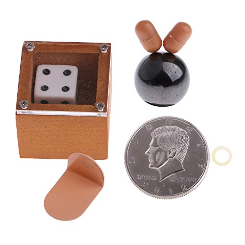 MonkeyJack Flipper Coin+Badlands Bob Mind Induction Beads Ball Magic+Moving Dice Mind Case Magic Close-up Magic Parts by MonkeyJack