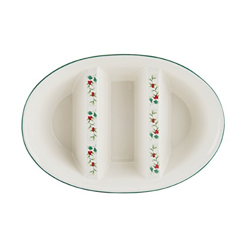Pfaltzgraff 5181432 Winterberry 3 Section Oval Vegetable Bowl, Assorted