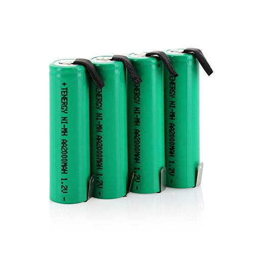 - Combo: 4 pcs Tenergy AA 2000mAh NiMH Rechargeable Battery Flat Top with Tabs for Shavers, Trimmers, Razors, and More
