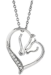 Diamond Accent Horse Pendant with Chain in Sterling Silver