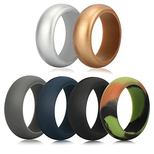 Silicone Wedding Ring for Men, Funria Silicone Rubber Bands Ring 6 Colors with Metal Silver and Metal Gold, Camouflage, Grey, Black, Dark Blue Fit for Sports and - Metal In Men Hottest