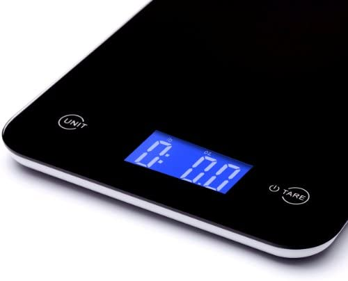 Ozeri Touch Professional Digital Kitchen Scale (8 kg / 17.6 lb Edition), Tempered Glass in Elegant Black