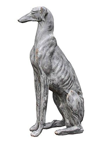 Greyhound Garden Statue - Creative Co-Op DA3202 Sitting Dog Looking Left