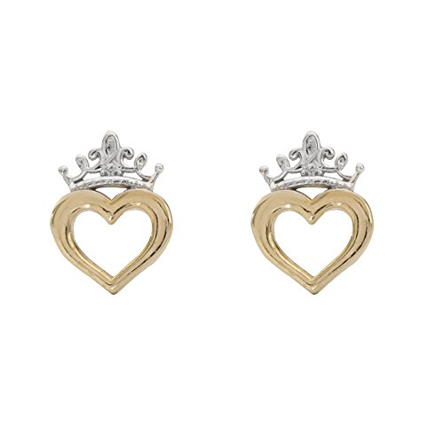 Disney Princess Jewelry for Women and Girls, 14K Yellow Gold, Heart Crown Stud Earrings
