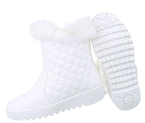Damen Winter Stiefeletten | Winterstiefel gefüttert | Dick gefütterte Schneestiefel | Kunst Fell Winter Boots | Kunst Fell Stiefel | Sneaker Winterstiefel | warme Stiefel | Kunst Fell Boots Weiß