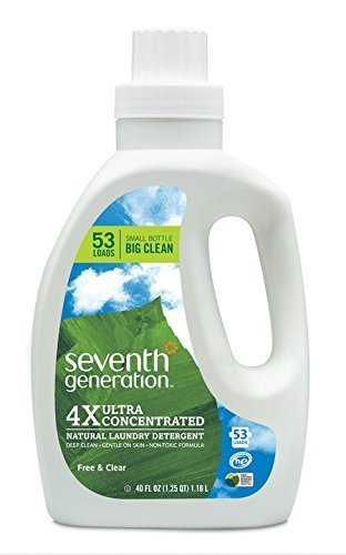 Seventh Generation Natural Laundry Detergent Free and Clear Unscented 106 loads (2pk 40oz ea) by Seventh Generation