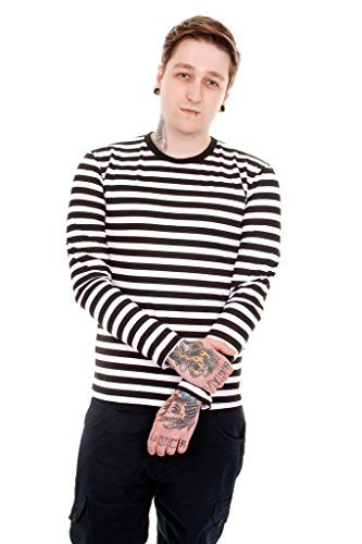Mens Indie Retro 60's Black & White Striped Long Sleeve T Shirt - Fashion Mens Indie