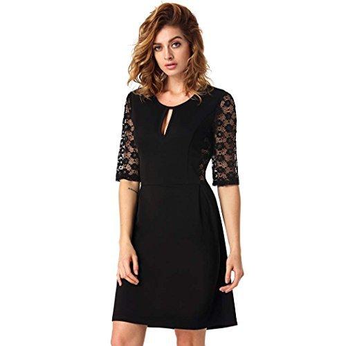 wholesale dealer b501a 35ed0 ANGVNS Donna elegante nero vestito in Merletto floreale a mezza manica