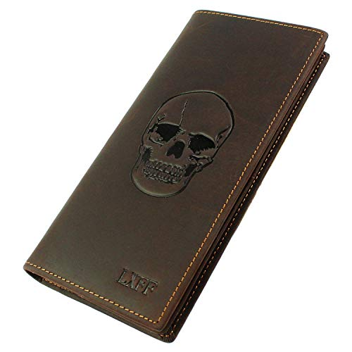 LXFF Mens Vintage Skull Genuine Leather Long wallet Bifold Wallets for - Wallets Men Skull For Leather