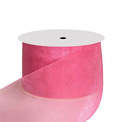 DUOQU 1-1/2 inch Wide Shimmer Sheer Organza Ribbon 25 Yards Hot Pink ()