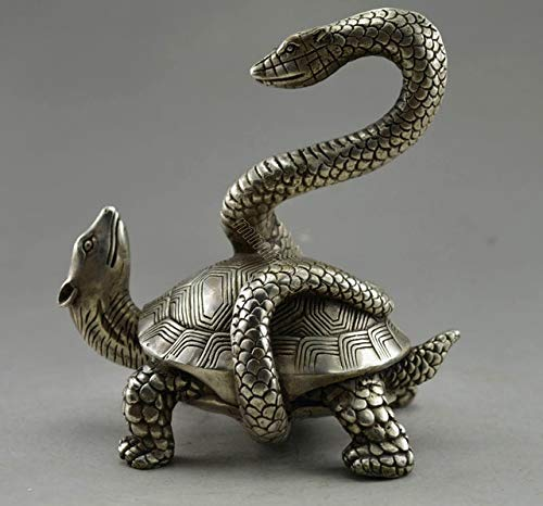 BeesClover Collectible Decorated Old Handwork Tibet Silver Snake Tortoise Exorcism Statue Copper Tools Wedding Decoration Brass Bronze Show by BeesClover (Image #1)