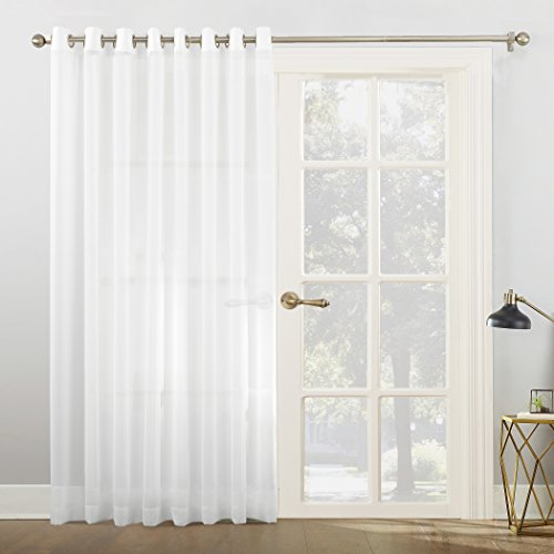 No. 918 Emily Extra-Wide Sheer Voile Sliding Patio Door Curtain Panel, 100