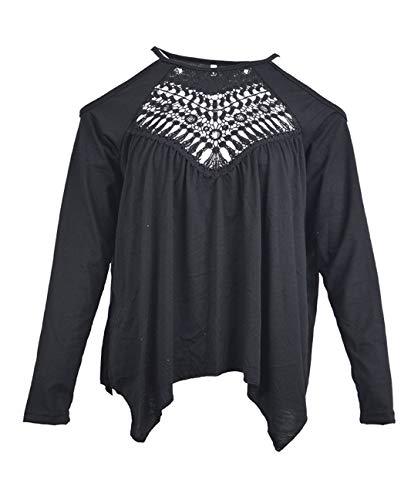 Noir Hauts et Fashion Dentelle Automne Epaule T Shirts Femmes Nu Tops Tees JackenLOVE Blouse Printemps Manches pissure Irregulier Creux Longues qSCwnRH