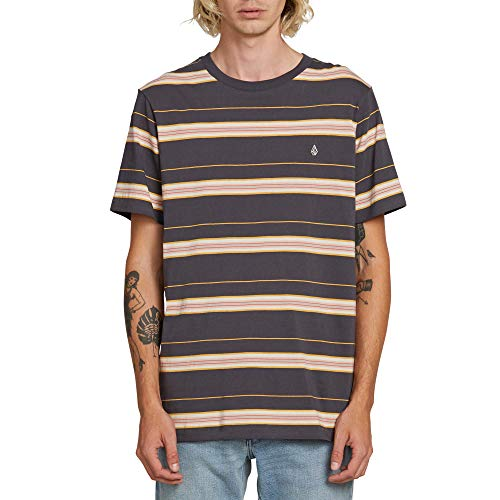 (Volcom Men's Shaneo Striped Crew Neck Short Sleeve Shirt, Asphalt Black, Large)