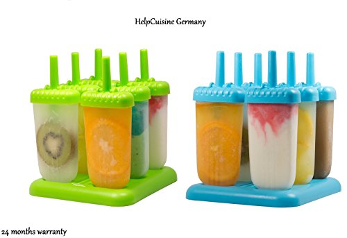 HelpCuisine - ice lolly moulds/6 Cell Set Pop Ice Mold Maker Lolly Jelly Mould Bar Tray Ice Cream Kitchen Tool - BPA free and FDA approved - 24 months Warranty ()