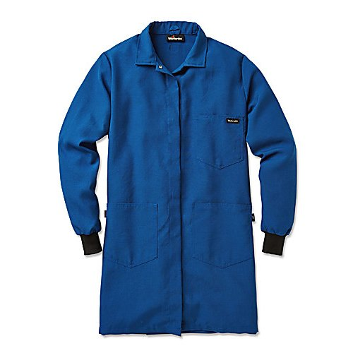 Workrite Uniform 361NX45RBSM 00 Women's Flame-Resistant Lab Coat with Knit Cuffs, Small Size, 4.5 oz. Nomex IIIA Fabric, Royal Blue
