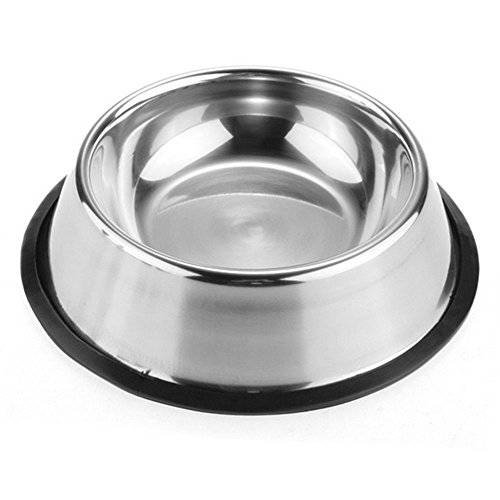DyAiPet Stainless Steel Dog Bowl or Cat Dish with Non-Slip Rubber Base for Pets (Bowls Bottom Stainless Rubber Steel)