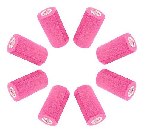4 Inch Vet Wrap Tape Bulk (Neon Pink) (Pack of 6) Self Adhesive Adherent Adhering Flex Bandage Rap Grip Roll for Dog Cat Pet Horse