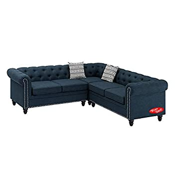 Amazon Com Sectional Sofa With Chaise Ottoman 3 Piece Set Dark
