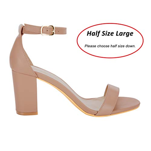 250d4f5cb8b Half Size Large Women Eunicer Womens Single Band Classic Chunky Block High  Heel Sandals with Ankle Strap Dress Shoes