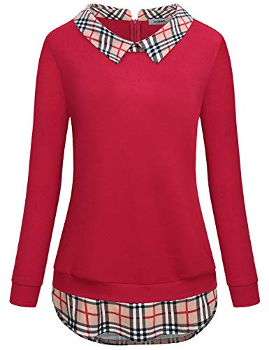 JCZHWQU Business Casual Clothes for Women Female Classy Peter Pan Collar Long Sleeve Sweater Tunic Tops Chic Roomy Flows Patchwork Checkered Swallowtail Hem Pullover Sweatshirt Blosue Shirts Red L by JCZHWQU
