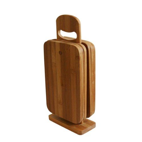 Axentia Schneidebrett-Set 7 teilig, 6 Brettchen aus ökologisch wertvollem Bambusholz plus Brettchenständer, Frühstücksbrettchen, hohe Schnittfestigkeit, geruchs- und geschmacksneutral, schonend für die Messerklinge, ideal zum Zubereiten, Schneiden und Servieren von Speisen.
