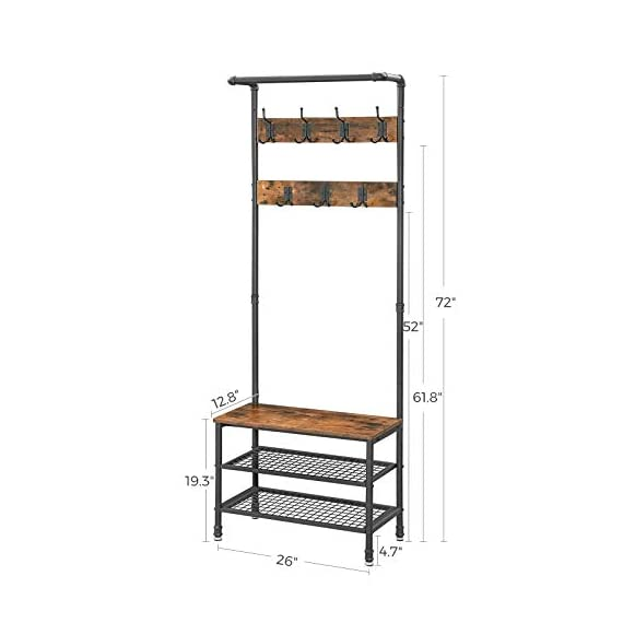 """VASAGLE URBENCE Hall Tree, Coat Rack Stand with Bench, Shoe Rack with 2 Mesh Shelves, Hallway, Living Room, Steel, Easy Assembly, Industrial Design, Rustic Brown UHSR37BX - OPPOSITES ATTRACT: Steel and engineered wood, rustic and industrial design, coat stand and shoe rack—this 26""""L x 12.8""""W x 72""""H hall tree is full of contrasts and yet ultimately forms a perfect unit STABILITY AT ITS BEST: We all know those wobbly coat racks that collapse when a coat is hung up. Thanks to the sturdy steel tubes, this coat rack always stands like a rock EVERYTHING ON THE HOOK: Your appointment starts in 20 minutes! It's a good thing that your jacket is hanging on one of the 7 hooks of this coat rack and your sneakers are standing on one of the two mesh shelves. Sit on the bench and quickly put on your shoes! - hall-trees, entryway-furniture-decor, entryway-laundry-room - 41SNkqf3Q9L. SS570  -"""