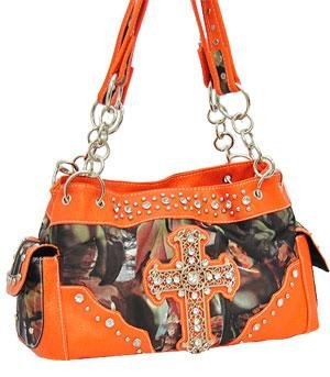 Orange Camo Western Buckle Cross Fashion Purse