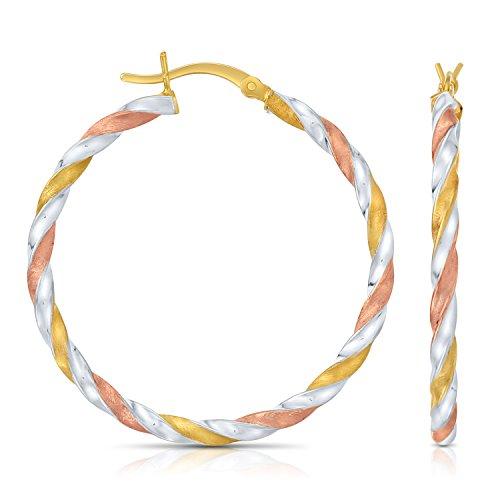 (Sterling Silver Tri- Color Swirl Twisted Round Hoop Earrings, (1.4 Inch Diameter))