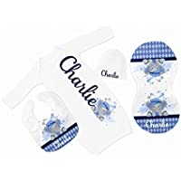 New Baby Boy's White with Blue Argyle Elephant Personalized Infant Gown with Navy Coming Home Outfit